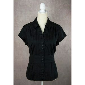 Ann Taylor Black Button Up Shirt 14